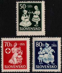 ✔️ SLOVAKIA 1943 - RED CROSS CHILDREN WELLFARE - SC. B11/B13 MNH OG [SK112]