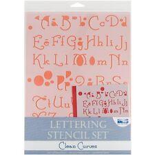 Pulire le curve Lettering Stencil Set-Blue Hills Studio 4 Pezzo transparentcolor