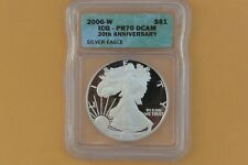 2006 W PROOF SILVER EAGLE ICG PR70 DCAM GREEN LABEL