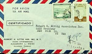 PARAGUAY 1962 2v BRIDGE, REFUGEE YEAR ON AIRMAIL COVER FROM VILLARRICA TO NY USA