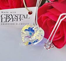 925 Sterling Silver Necklace Crystals From Swarovski® HEART 18mm Crystal AB