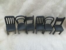 IKEA 6 BLACK CHAIRS FOR DOLL HOUSE FURNITURE