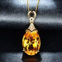 "Yellow Citrine & Diamonds 3.Ct 14k Yellow Gold Over Pendant 18"" Chain Necklace"