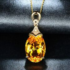 "Yellow Citrine & Diamonds 3.Ct 14k Yellow Gold Over Pendant 18"" Chain Necklace"