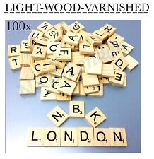 New 100 x varnished Wooden Scrabble Tiles Letters Alphabet Scrabbles Letter UK