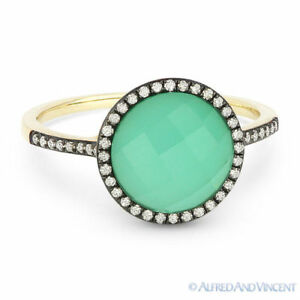 2.61 ct Green Agate & White Topaz Doublet Diamond Halo Pave 14k Yellow Gold Ring