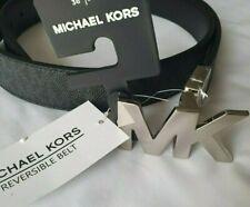 Michael Kors Signature Monogram Reversible Black Belt, Silver MK LOGO. M. NEW