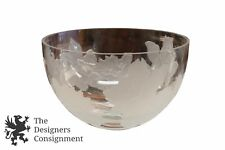 """Melissa Penic Signed Art Glass Punch Bowl Dish Floral Frosted Etched Roses 10"""""""