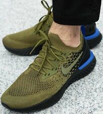 "MENS NIKE EPIC REACT FLYKNIT TRAINERS UK SIZE 10 ""OLIVE / BLACK"" RRP £129.95"