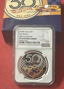 2018-P Hot Wheels 50th Anniversary Tuvalu PF70 NGC Ultra Cameo Proof Silver Coin