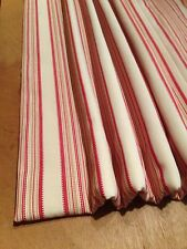 Voyage Ellen Poppy Cotton Ticking Interlined Curtains Made To Measure Hand Sewn