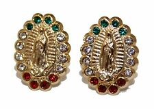 Virgen de Guadalupe with Mexican Flag Cz Bezel 14k Gold Screw Back Earrings