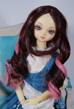 "1/3 9-10"" BJD DOLL WIG SD PINK BROWN CURLY LONG NO BANGS DOLLFIE JR-54 USA SALE"