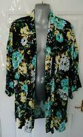 ❤ PAPAYA Size 18 Black Blue Yellow Floral Open Jacket Blouse Top Kimono Cover