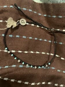 Pura Vida Black Mini Braided Witg Blue And Gray Beads And Tassel