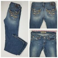 Big Star Womens Casey K Slim Bootcut Low Rise Fit Destroyed Jeans Size 28R x 30