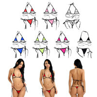 Women Lingerie Sexy Bra Sets Micro Mini Halter Thong  Bikini G-string Swimwear