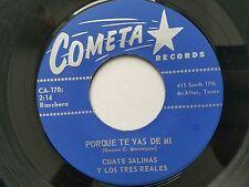 """CUATE SALINAS LOS TRES REALES - Porque Te Vas De Mi 7"""" RARE RANCHERA Cometa 7"""""""