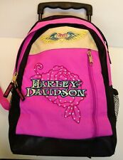 "Harley Davidson Mini Rolling ""Rose"" Girls Backpack 16"" - 24"" w/handle"