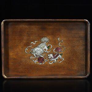 35 cm China natural Rosewood plate tray inlay shell Animal lion Wood tea tray