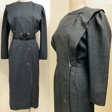 80's-does-40's Ladies Grey Wool Striped Dress Long-sleeve Button Front Costume