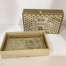 Vintage Geo 00004000 rge Briard Glass Gold Gilded Plate Set 2 Original Box Vanity/candy