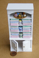 1:12 Scale White Cupboard With Mixed Towels & Accessories Dolls House Miniature