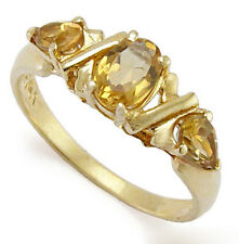 Three Stone Citrine Mother's ring Solid 14k Gold R403