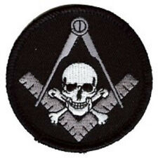WIDOWS SONS SKULL SQUARE MASON EMBROIDERED IRON ON BIKER PATCH