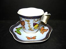 BEAUTIFUL BUTTERFLY WING HANDLED DEMI-TASSE CUP & SAUCER [11]