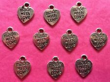 Tibetan silver made with love coeur charms # 2 - 10 per pack