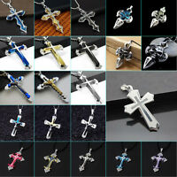 Unisex's Men Blue Gold Silver Stainless Steel Cross Charm Pendant Necklace Chain