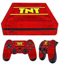 PS4 Slim Skin TNT CRATE CRASH BANDICOOT N SANE RED Stickers + 2 X Pad skins New
