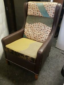 Chair - Limited Edition Heavy Duty Leather & Fabric Designer Highback Chair