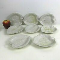 Set of 8 Wedgwood Majolica Restoration Honeysuckle Footed Stoneware Tray Dish