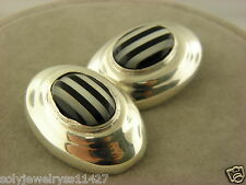 Taxco Mexico Sterling Silver 925 Clip-On Oval Striped Black Onyx Earrings #20