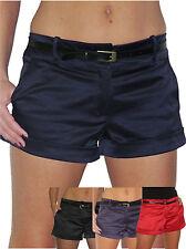 (1266) Womens Shine Satin Hot Pants Shorts Free Belt Sizes 8-16