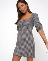 MOTEL ROCKS Giada Dress in Check it Out Black Small S  (mr7)