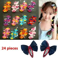 Lot of 24 Baby Girls Kids Hair Clips Grosgrain Ribbon Hair Bow Snap Tic Tac 2""
