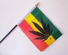 """CANNABIS REGGAE SMALL HAND WAVING FLAG 6""""X4"""" flags RASTAFARIAN RASTA"""