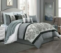 7 Piece Kazue Floral Embroidery Emboss Comforter Set Bed-In-A-Bag (Queen, Gray)