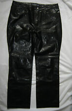 GAP BLACK LEATHER BOOT CUT TROUSERS UK 16 W36 L32 EXCELLENT CONDITION