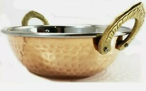 Indian Copper Karahi/Balti Dish, Hammered with Handles, Curry dish 15cm