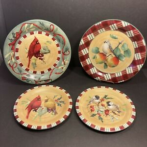 4 Lenox Winter Greetings Everyday Plates 2 Dinner- 2 Salad Cardinal And More