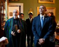 OBAMA & AFGHAN PRESIDENT KARZAI IN GREEN ROOM 8x10 SILVER HALIDE PHOTO PRINT