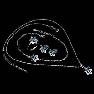 Marquise London Blue Topaz 5x2.5mm Cz White Gold Plate 925 Sterling Silver Sets