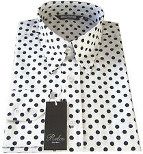 Relco Mens Black White Polka Dot Shirt Button Down Collar Vintage Retro Spot