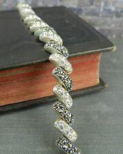 A Thailand Sterling Silver, Marcsite & CZ Tennis Bracelet
