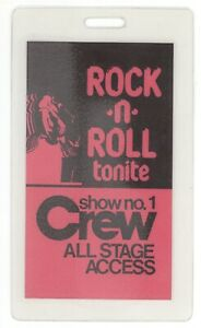 RARE Rock n Roll Tonite 1983 TV Show No 1 CREW Laminated Backstage Pass! & and