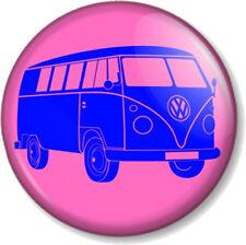 VW Camper Van Logo 25mm Pin Button Badge Retro Volkswagen Pink and Blue Hippie